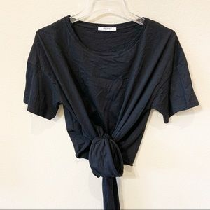 Zara Black Tie Front Soft T-shirt